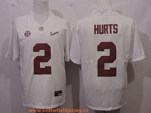 Men's Alabama Crimson Tide #2 Jalen Hurts White 2017 Playoff Diamond Quest Stitched College Football Nike Rush Limited Jersey
