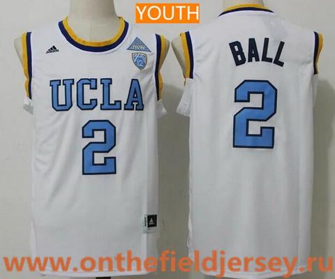 Youth UCLA Bruins #2 Lonzo Ball White College Basketball 2017 adidas Swingman Stitched NCAA Jersey