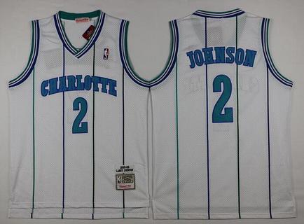 Men's Charlotte Hornets #2 Larry Johnson 1992-93 White Hardwood Classics Soul Swingman Throwback Jersey