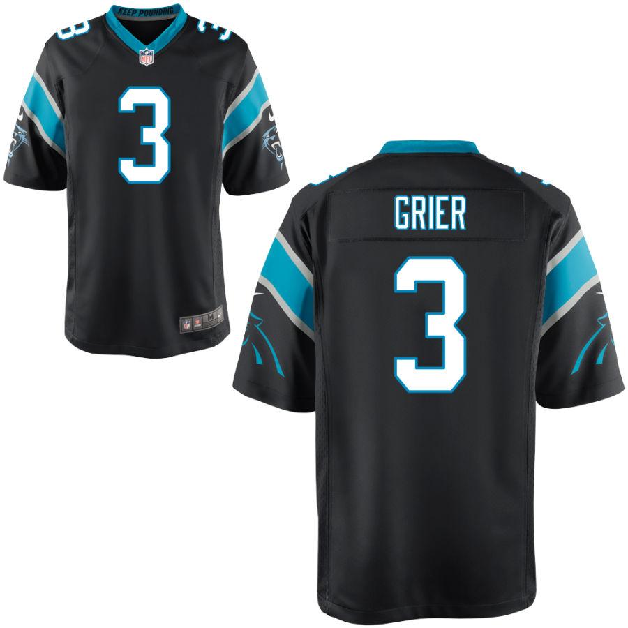 Men's Carolina Panthers #3 Will Grier Black Stitched NFL Nike Game Jersey