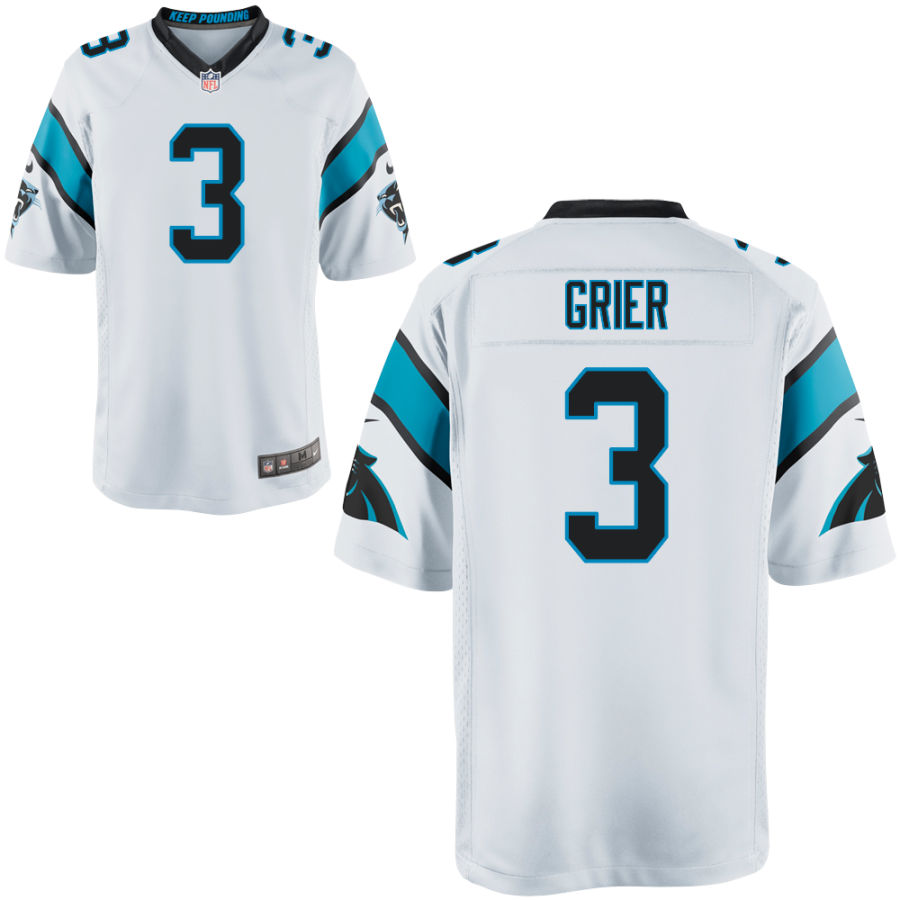Men's Carolina Panthers #3 Will Grier White Stitched NFL Nike Game Jersey