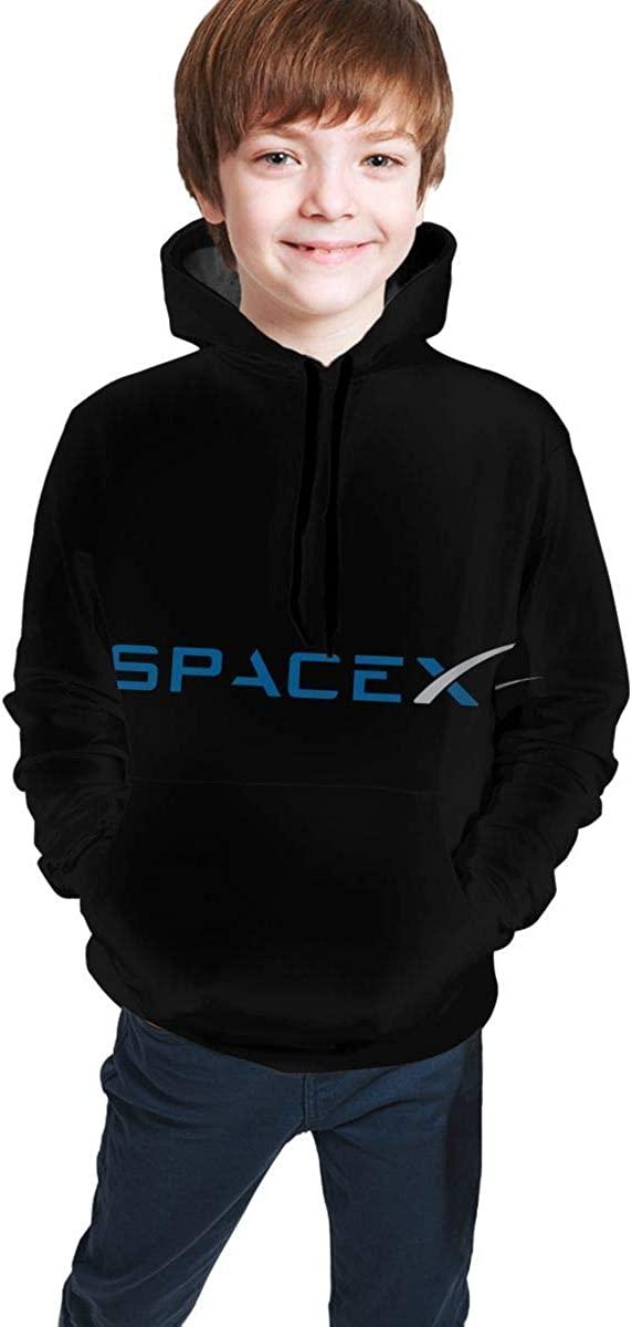Besondere Herrenmode Baumwolle Spacex Hoodie Rundhalsausschnitt Kurzarm T-Shirt Schwarz