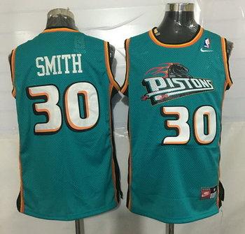 Men's Detroit Pistons #30 Joe Smith Teal Green Hardwood Classics Soul Swingman Throwback Jersey