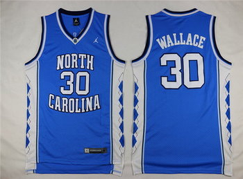 Men's North Carolina Tar Heels #30 Rasheed Wallace 2016 Light Blue Swingman College Basketball Jersey