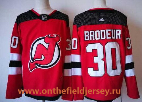 Men's New Jersey Devils #30 Martin Brodeur Red with Black Home 2017-2018 adidas Hockey Stitched NHL Jersey