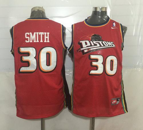 Men's Detroit Pistons #30 Joe Smith Red Hardwood Classics Soul Swingman Throwback Jersey