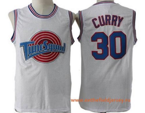 Men's The Movie Space Jam #30 Stephen Curry White Soul Swingman Basketball Jersey