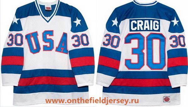 Men's 1980 Olympics USA #30 Jim Craig White Throwback Stitched Vintage Ice Hockey Jersey
