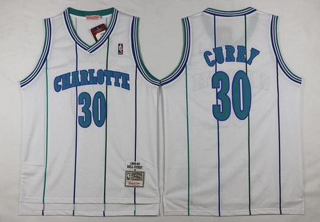 Men's Charlotte Hornets #30 Dell Curry 1992-93 White Hardwood Classics Soul Swingman Throwback Jersey