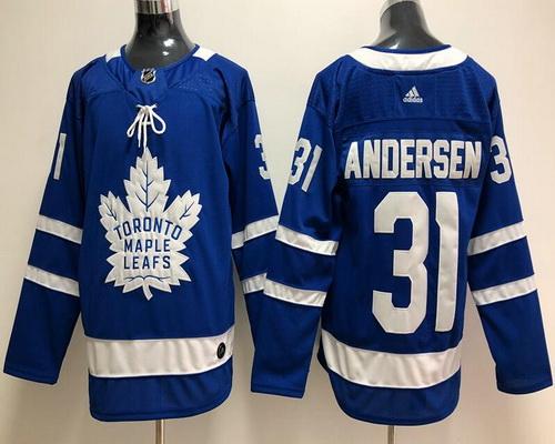 Men's Toronto Maple Leafs #31 Frederik Andersen Royal Blue Home 2017-2018 adidas Hockey Stitched NHL Jersey