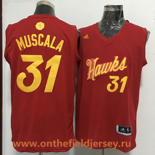 Men's Atlanta Hawks #31 Mike Muscala adidas Red 2016 Christmas Day Stitched NBA Swingman Jersey