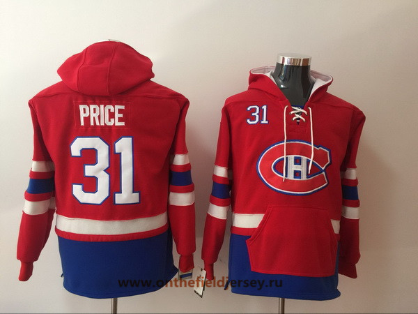 Men's Montreal Canadiens #31 Carey Price Red Pocket Stitched NHL Old Time Hockey Pullover Hoodie