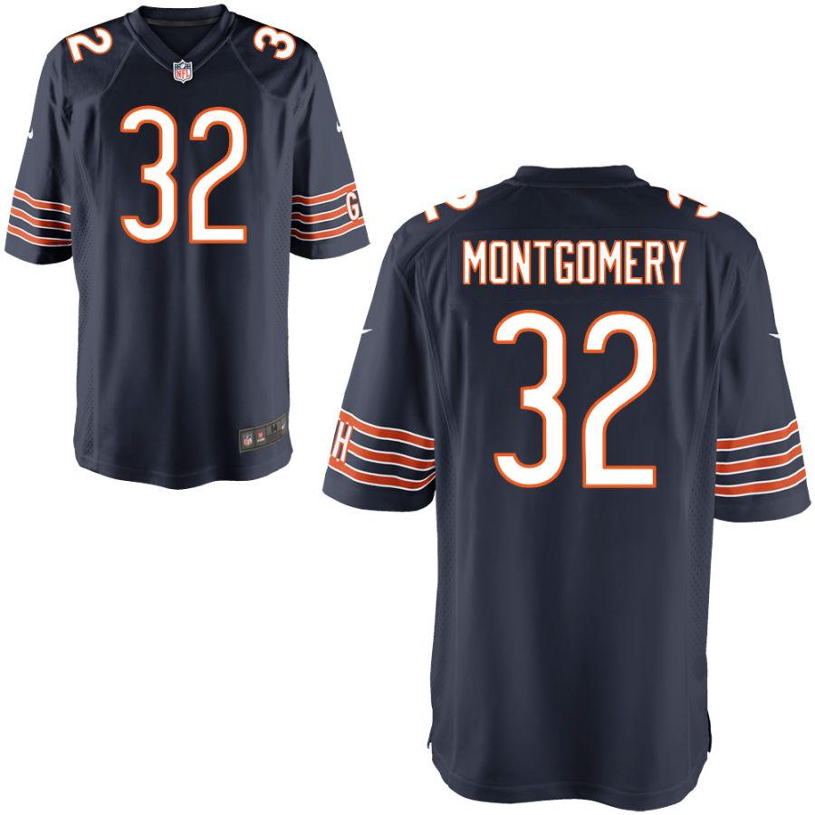 Men's Chicago Bears #32 David Montgomery Navy Blue Game Jersey