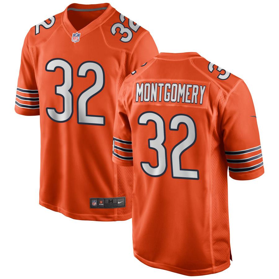Men's Chicago Bears #32 David Montgomery Orange Game Jersey