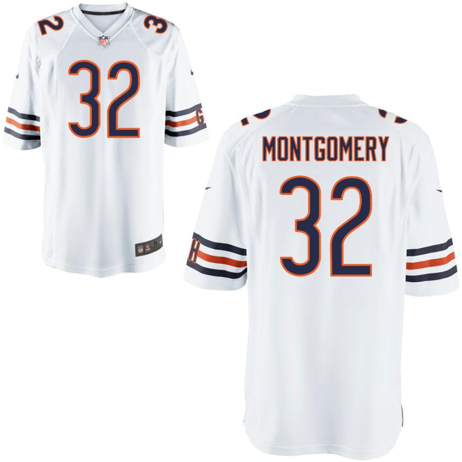 Men's Chicago Bears #32 David Montgomery White Game Jersey