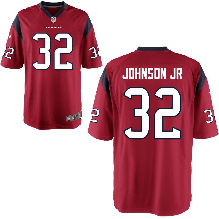 Men's Houston Texans #32 Lonnie Johnson Jr Red Stitched NFL Nike Game Jersey