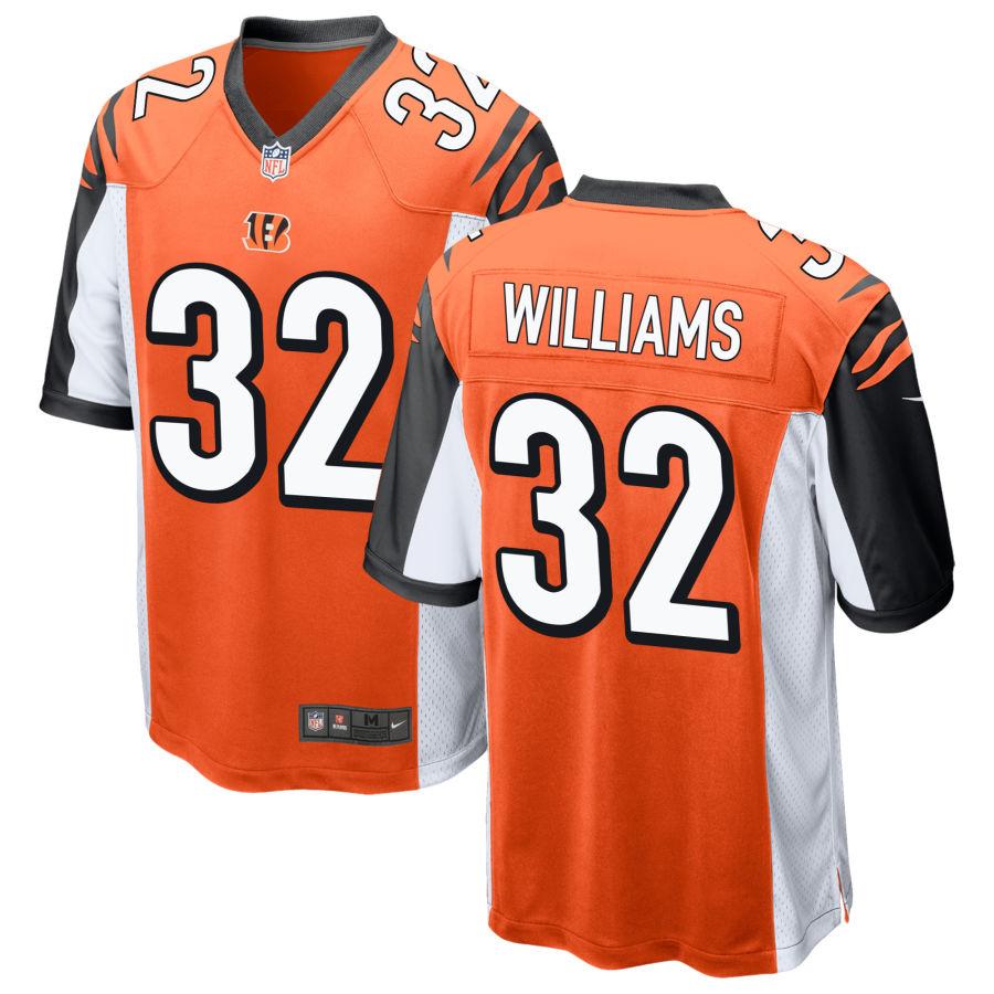 Men's Cincinnati Bengals #32 Trayveon Williams Orange Stitched NFL Nike Game Jersey
