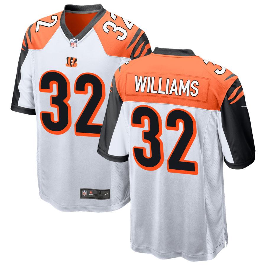 Men's Cincinnati Bengals #32 Trayveon Williams White Stitched NFL Nike Game Jersey