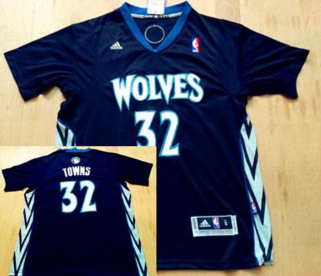 Men's Minnesota Timberwolves #32 Karl-Anthony Towns Revolution 30 Swingman Black Short-Sleeved Jersey