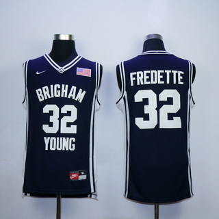 Men's Brigham Young Cougars #32 Jimmer Fredette 2010-11 Navy Blue College Basketball Nike Swingman Jersey