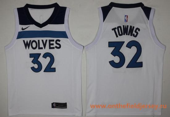 Men's Minnesota Timberwolves #32 Karl-Anthony Towns White 2017-2018 Nike Swingman Stitched NBA Jersey