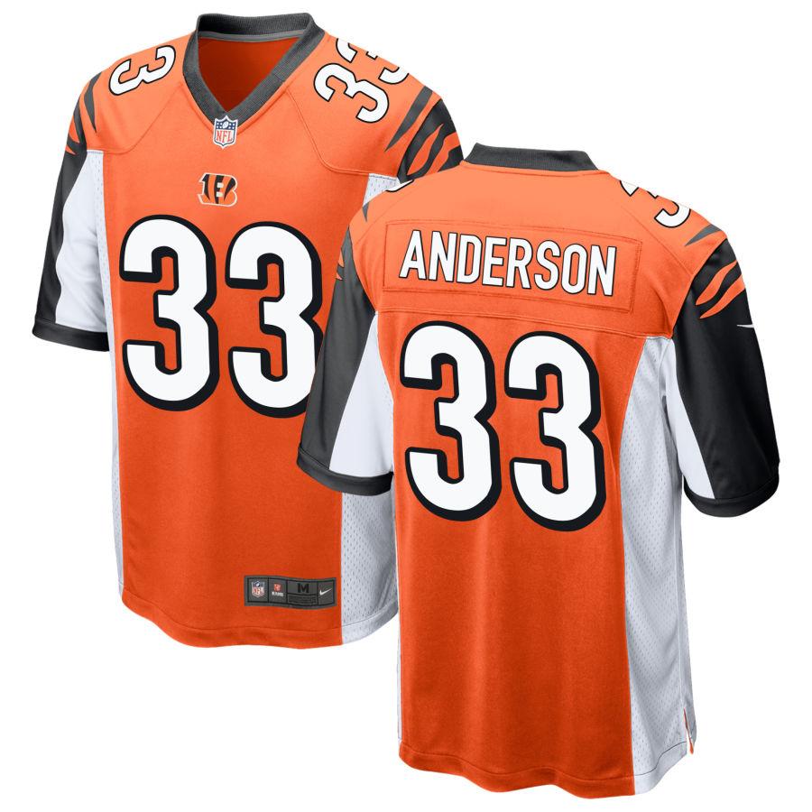 Men's Cincinnati Bengals #33 Rodney Anderson Orange Stitched NFL Nike Game Jersey