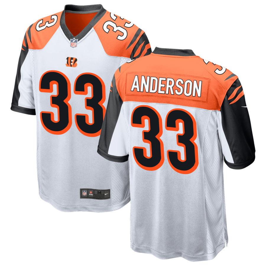 Men's Cincinnati Bengals #33 Rodney Anderson White Stitched NFL Nike Game Jersey