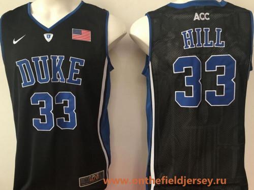 Men's Duke Blue Devils #33 Grant Hill Black Collar College Basketball Stitched Nike Swingman Jersey