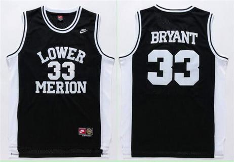 Men's Lower Merion High School #33 Kobe Bryant Black Swingman Nike Baseketball Jersey