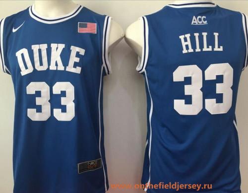 Men's Duke Blue Devils #33 Grant Hill Royal Blue Round Collar College Basketball Stitched Nike Swingman Jersey
