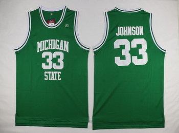 Men's Michigan State Spartans #33 Magic Johnson Green College Basketball Swingman Jersey-Michigan State