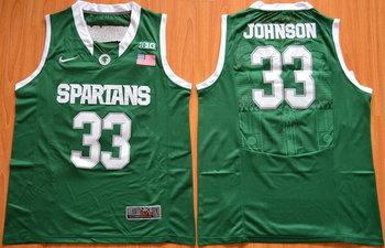 Men's Michigan State Spartans #33 Magic Johnson 2015 Green College Basketball Nike Jersey