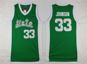 Men's Michigan State Spartans #33 Magic Johnson Green College Basketball Swingman Jersey-State