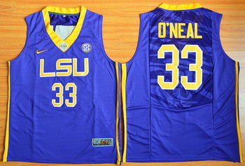 Men's LSU Tigers #33 Shaquille O'Neal Purple College Basketball Nike Jersey