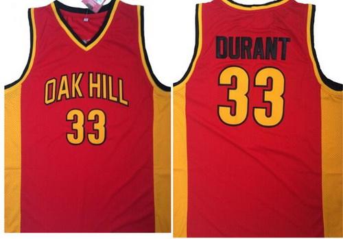 Men's Oak Hill Academy High School #33 Kevin Durant Red Soul Swingman Basketball Jersey