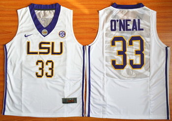 Men's LSU Tigers #33 Shaquille O'Neal White College Basketball Nike Jersey