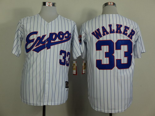 Men's Montreal Expos #33 Larry Walker 1982 White Pinstripe Mitchell & Ness Throwback Jersey