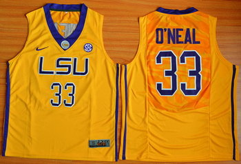 Men's LSU Tigers #33 Shaquille O'Neal Gold College Basketball Nike Jersey