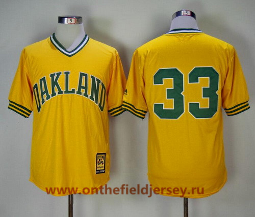 Men's Oakland Athletics #33 Jose Canseco Yellow Pullover 1981 Throwback Cooperstown Collection Stitched MLB Mitchell & Ness Jersey