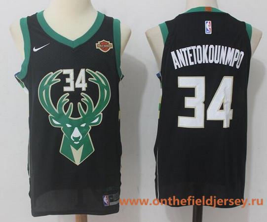 Men's Milwaukee Bucks #34 Giannis Antetokounmpo Black 2017-2018 Nike Swingman Harley Davidson Stitched NBA Jersey
