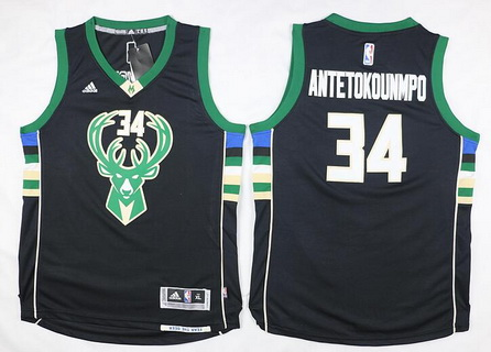 Youth Milwaukee Bucks #34 Giannis Antetokounmpo 2015-16 Black Jersey