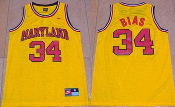Men's Maryland Terps University #34 Len Bias Yellow 1985 Throwback Basketball Jersey