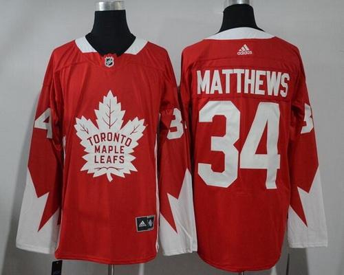 Men's Toronto Maple Leafs #34 Auston Matthews Red 2017-2018 adidas Hockey Stitched NHL Jersey
