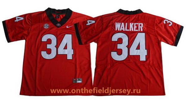 Men's Georgia Bulldogs #34 Herschel Walker Red Limited 2017 College Football Stitched Nike NCAA Jersey