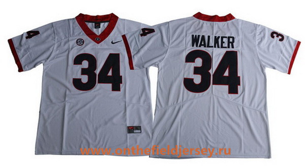 Men's Georgia Bulldogs #34 Herschel Walker White Limited 2017 College Football Stitched Nike NCAA Jersey