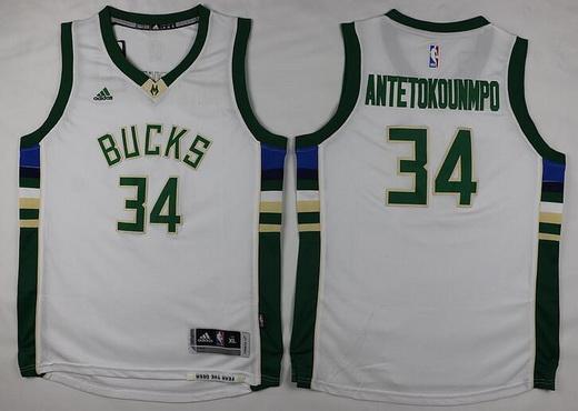 Youth Milwaukee Bucks #34 Giannis Antetokounmpo 2015-16 White Jersey