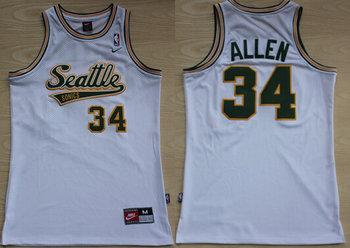 Men's Seattle Supersonics #34 Ray Allen White AU Soul Swingman Jersey