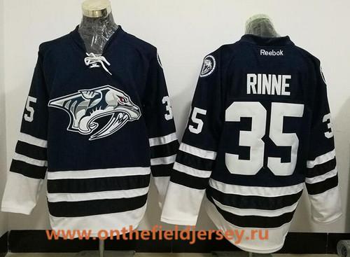 Men's Nashville Predators #35 Pekka Rinne Navy Blue Third Stitched NHL Reebok Hockey Jersey