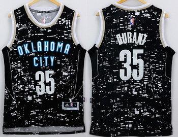 Men's Oklahoma City Thunder #35 Kevin Durant adidas 2015 Gray City Lights Swingman Jersey