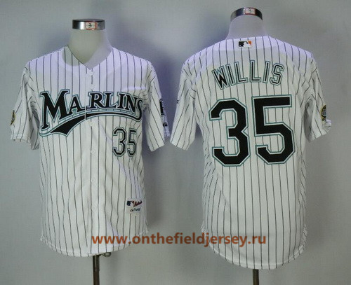 Men's Florida Marlins #35 Dontrelle Willis White Pinstripe Home Throwback 2003 World Series Patch Stitched MLB Mitchell & Ness Jersey